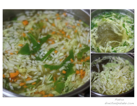 Sopa de verdura. Pasos