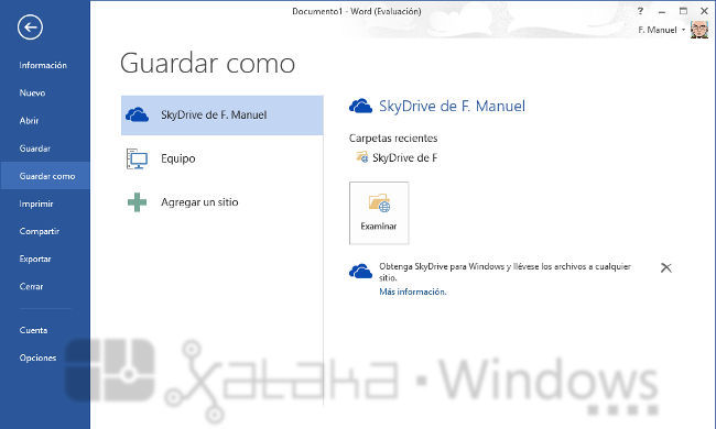 Word 2013, guardar como
