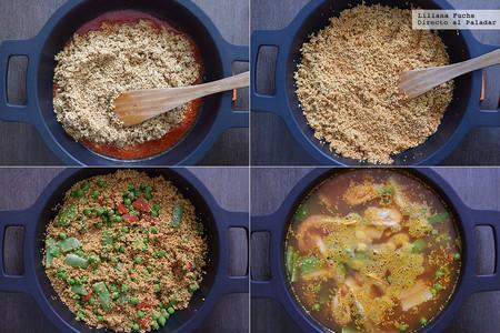 Paella de Quinoa. Pasos