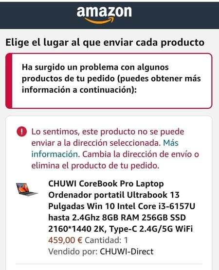 Imagen de un producto de Amazon que no se envía a las Islas Canarias.