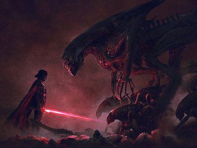 Darth Vader vs Aliens: la batalla que muchos habían imaginado se hace realidad en estas increíbles ilustraciones