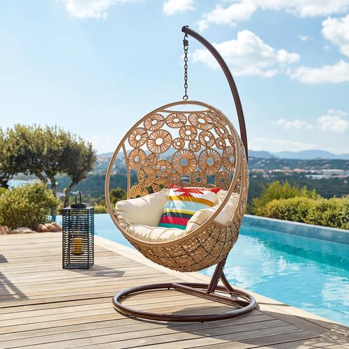 Sillon Colgante De Jardin De Resina Trenzada Y Cojin Crudo Ibis 500 5 26 164395 5
