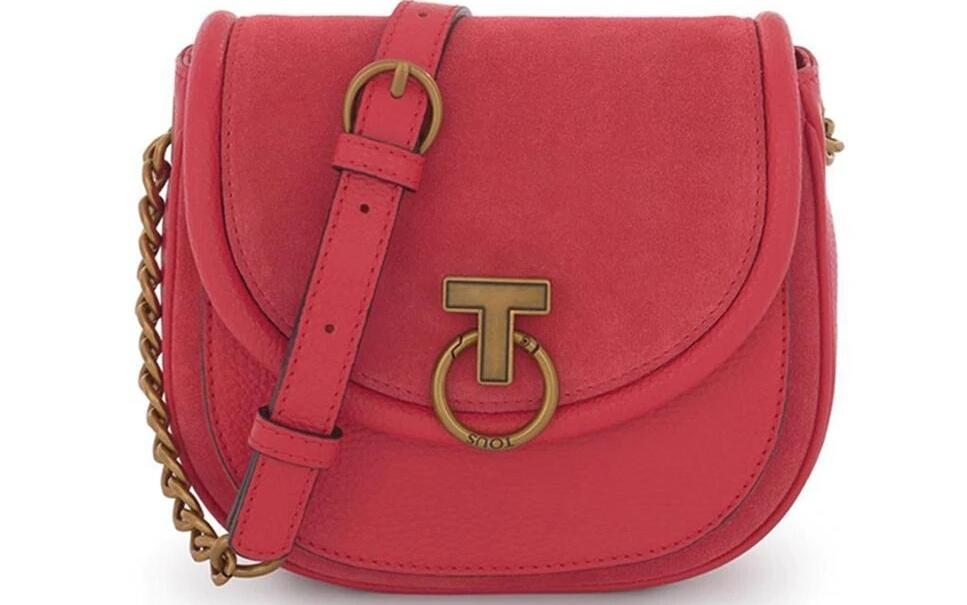 Bandolera de mujer Tous T Hold Chain con asa de cadena ajustable en color rojo