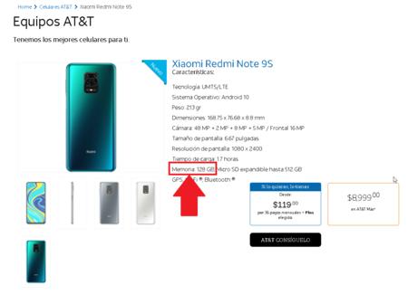 Xiaomi Redmi Note 9s Venta Att Mexico Precio