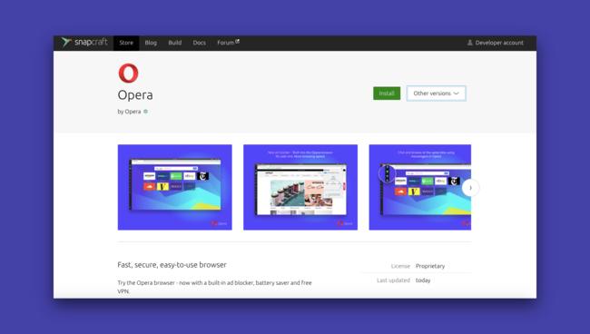 Opera Snap Ubuntu