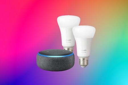 Chollo pack de domótica que arrasa en Amazon: dos bombillas Philips Hue y Echo Dot por poco más de 30 euros (y más ofertas en altavoces)