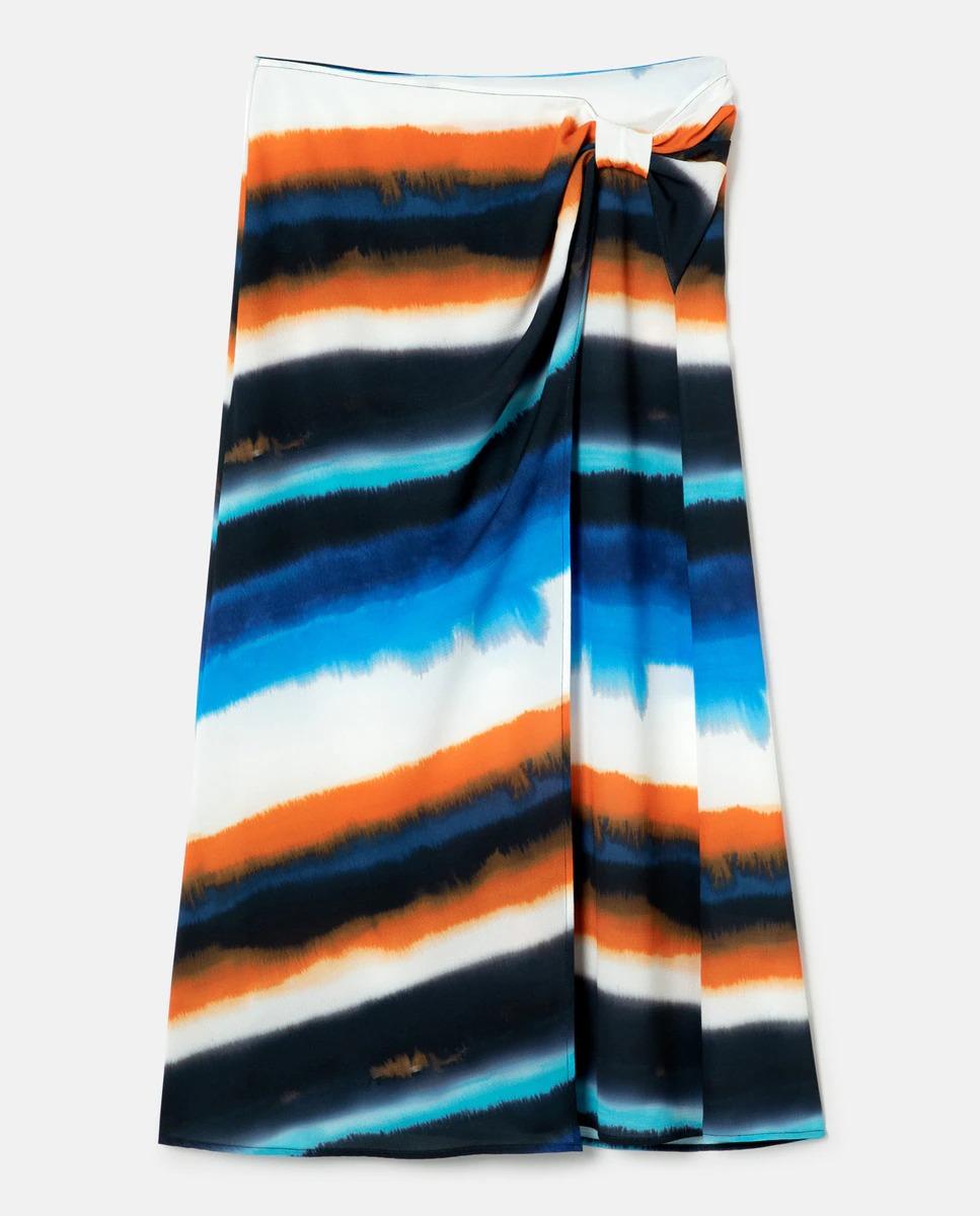 Falda estilo pareo larga con estampado tie-dye de Escorpion