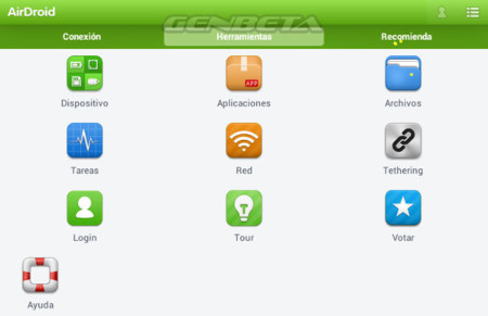 AirDroid 2.0, interfaz bajo Android