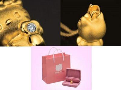 Colgante Hello Kitty en oro y diamantes