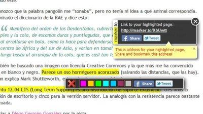 Marker.to: resalta cualquier texto de una página web y compártelo fácilmente
