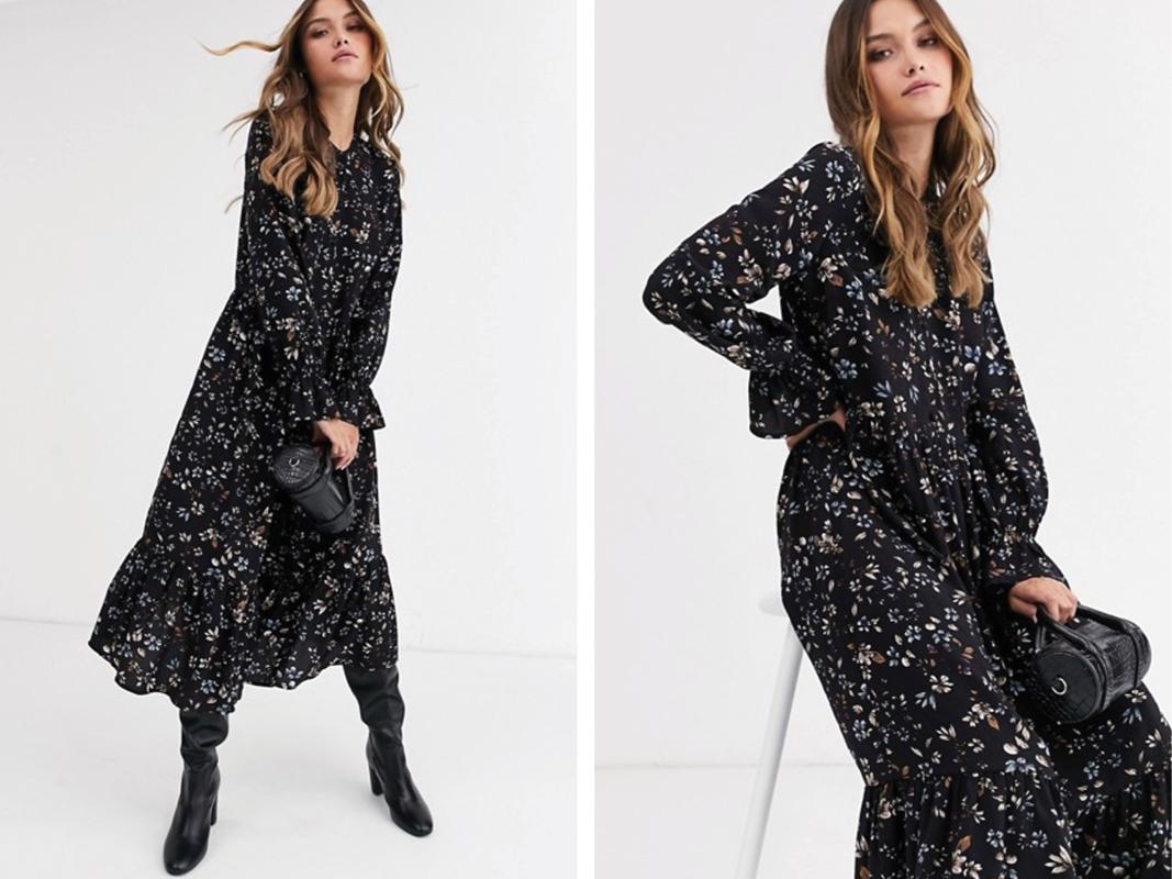 Vestido largo amplio con estampado de florecitas de Vero Moda