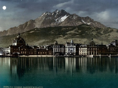 The Lucerne Railway Station And Pilatus By Moonlight