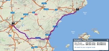 Cambiar los recorridos con Yahoo! Maps