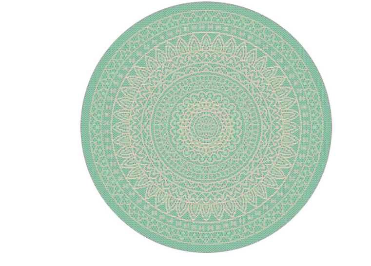 Alfombra de interior y exterior verde polipropileno Vejer 120 x 120cm