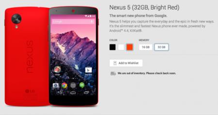 Nexus 5 Rojo todo un exito en Google Play Store