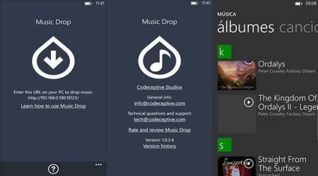 Music Drop, transfiere canciones por Wi-Fi a tu Windows Phone 8