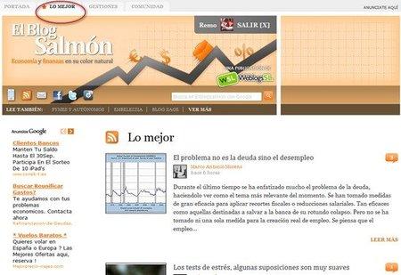 Nueva pestaña con lo mejor de El Blog Salmón y comentarios con Facebook