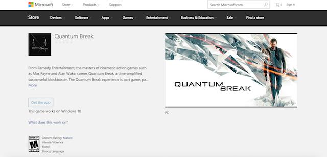 Quantum Break Windows 10 Store 640x308