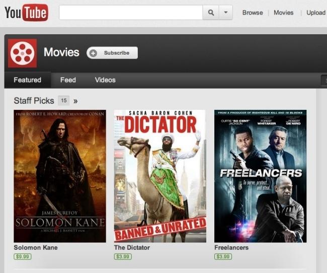 Youtube alquiler de vídeo bajo demanda en televisores
