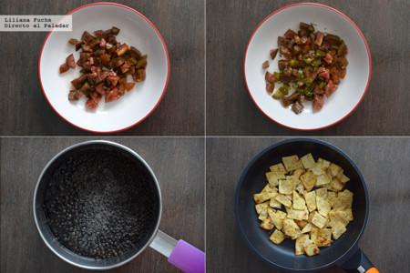 Ensalada de lentejas beluga con chips de tortilla. Pasos