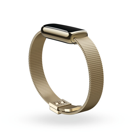 Fitbit Luxe Render Dramatic Metal Mesh Soft Gold Soft Gold Blank Shadow