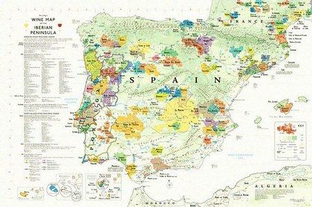 El mapa de regiones vinícolas de España editado por De Long's Wines
