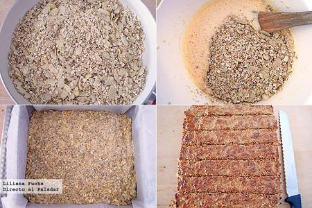 Barritas saludables de avena y almendra. Pasos de la receta