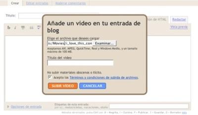 Blogger permite subir vídeos en su plataforma