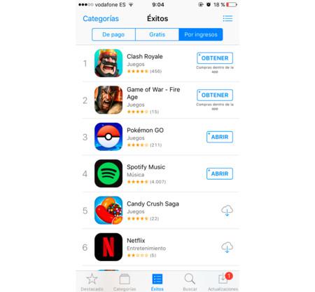 Pokemon go App store ingresos