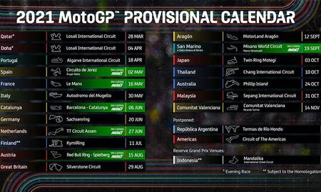 Calendario Provisional Motogp Enero 2021