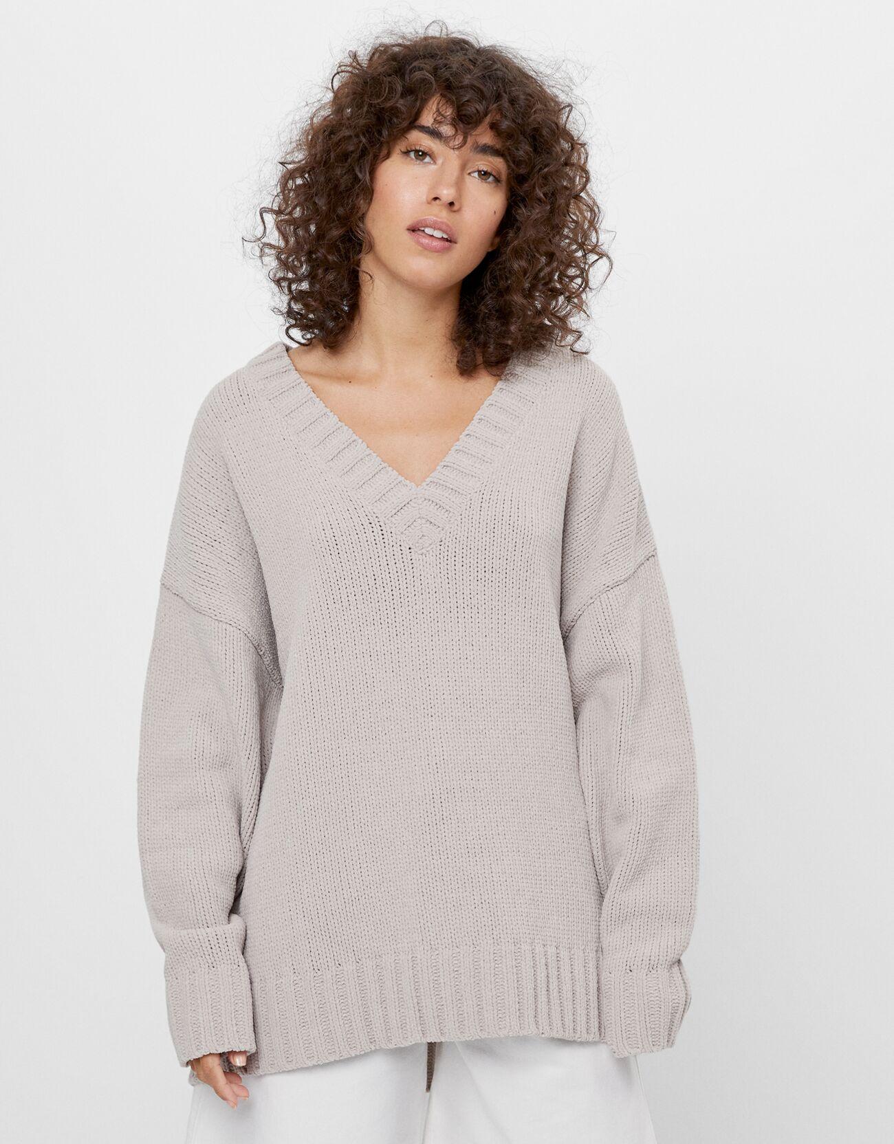 Jersey de punto con cuello en V oversize