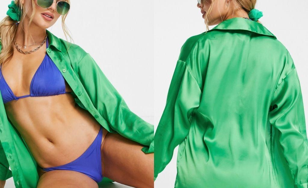 Camisa verde de satén de ASOS DESIGN