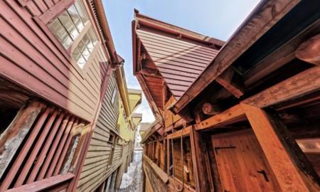 Arquitectura de Bryggen en Bergen, Noruega