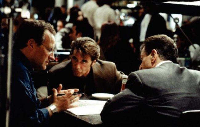Michael Mann, Al Pacino y Robert de Niro en el rodaje de Heat