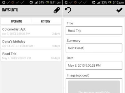 Days Until, cuentas atrás en tu dispositivo Android