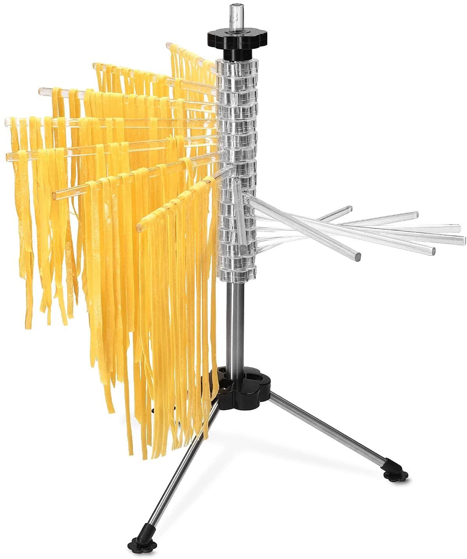 Navaris Secador de pasta fresca - Secador pasta de Acero Inoxidable con recetario - Colgador para pasta fresca tallarines máx. 2 KG - Transparente