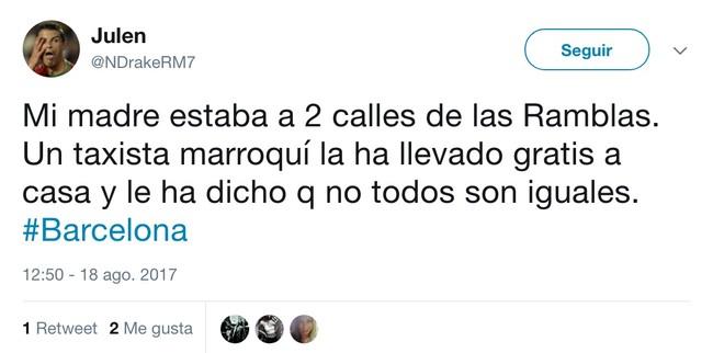Julen En Twitter Mi Madre Estaba A 2 Calles De Las Ramblas Un Taxista Marroqui La Ha Llevado Gratis A Casa Y Le Ha Dicho Q No Todos Son Iguales Barcelona
