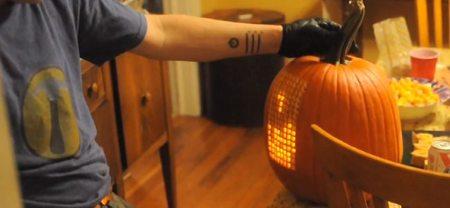 Juega al Tetris en una calabaza de Halloween