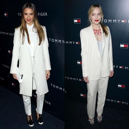 De traje blanco en la fiesta de Tommy Hilfiger: ¿Jessica Alba o Dakota Johnson?