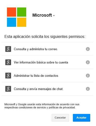 permisos outlook.com en gmail