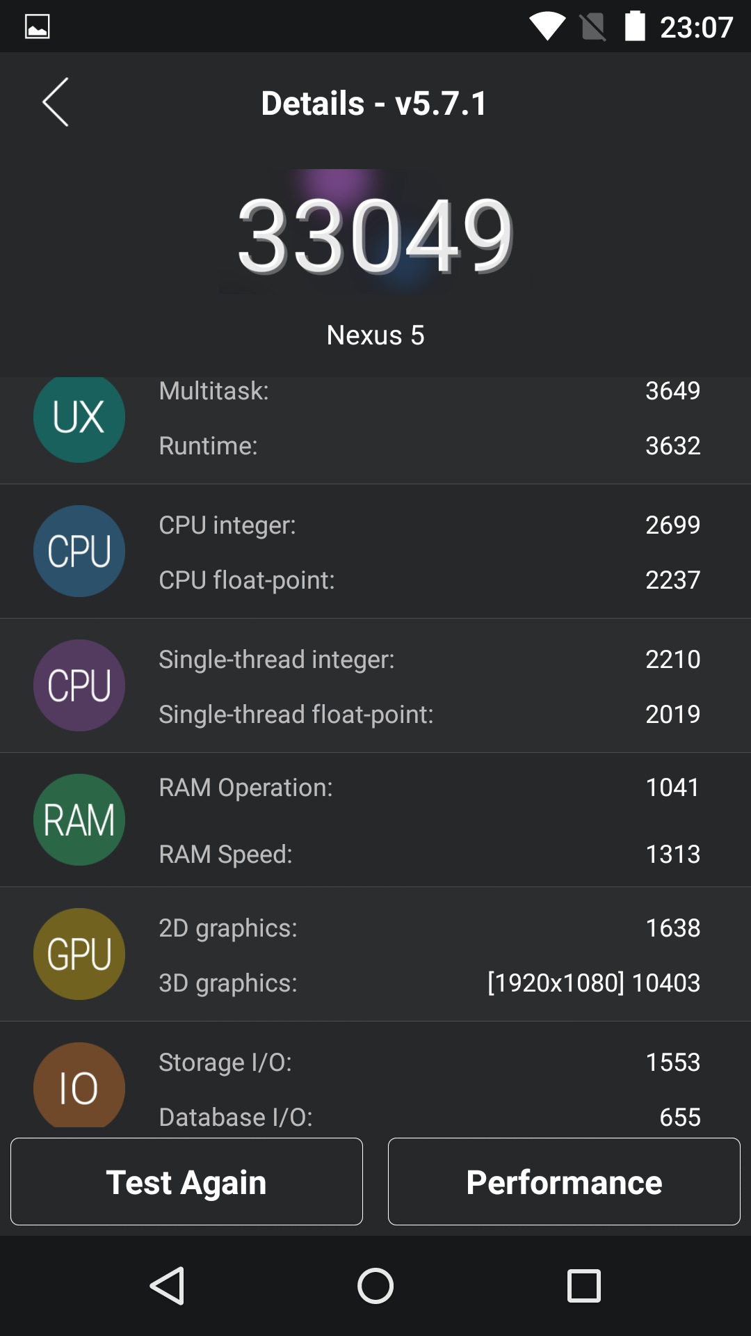 Benchmarks Nexus 5 Android 5.1.1