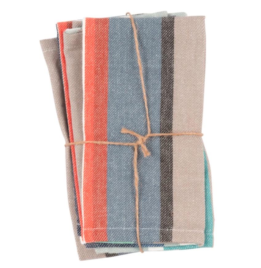 Servilletas de algodón con motivo de rayas multicolores 40x40 (x4)
