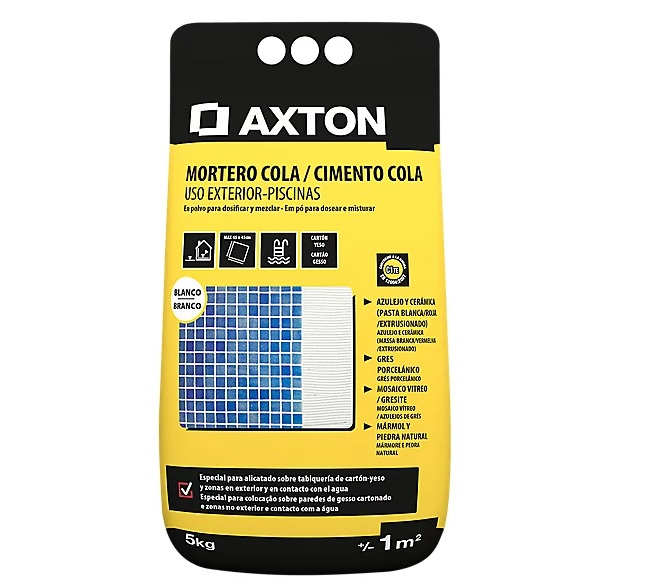 Mortero cola para piscinas AXTON blanco 5 kg