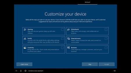 Windows 10 permitirá que elijamos qué tipo de usuario somos para recomendarnos herramientas y servicios
