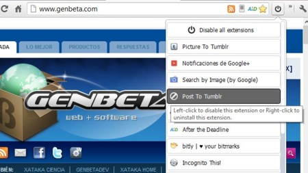 Deshabilita todas las extensiones de Chrome de golpe o individualmente con One click extension manager
