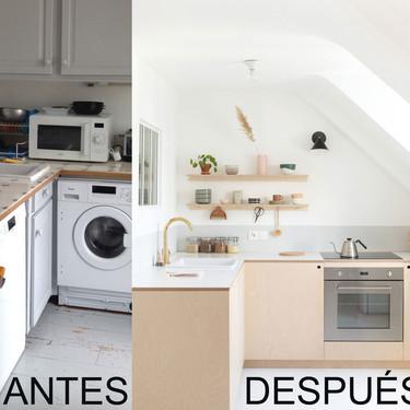 Antes y después de una cocina tras una reforma low cost