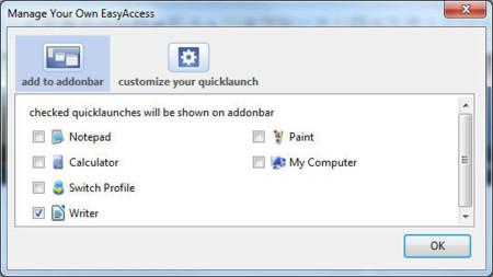 Firefox Easy Access, añadiendo programas a la barra de complementos