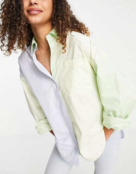 Camisa Verde Extragrande Con Diseno Color Block De Asos Design