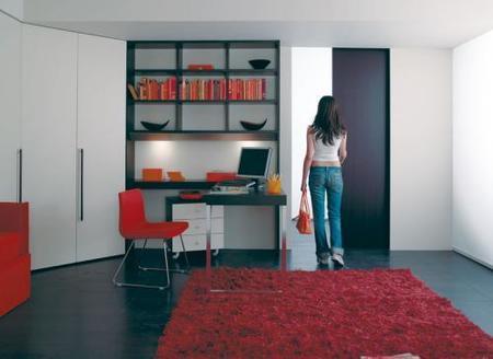 Zonas de trabajo en el salón: integradas en la librería