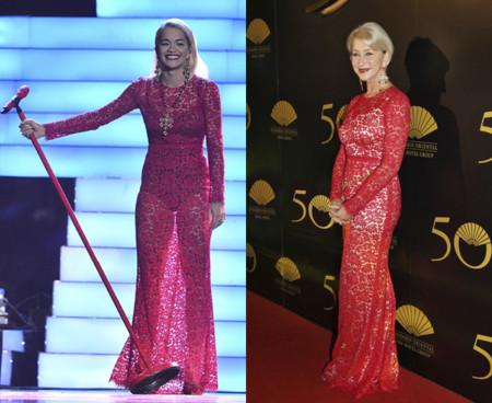 Helen Mirren y Rita Ora con un vestido de encaje rojo de la colección Otoño/Invierno 2013-2014 de Dolce & Gabbana